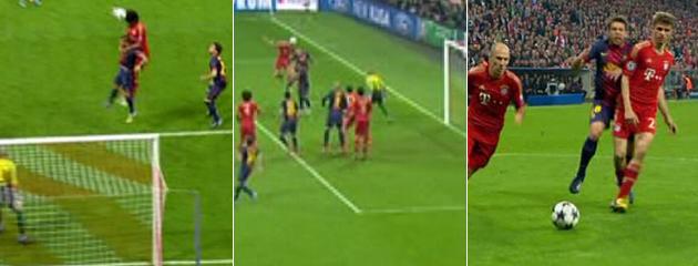 Tres de los cuatro goles del Bayern son ilegales