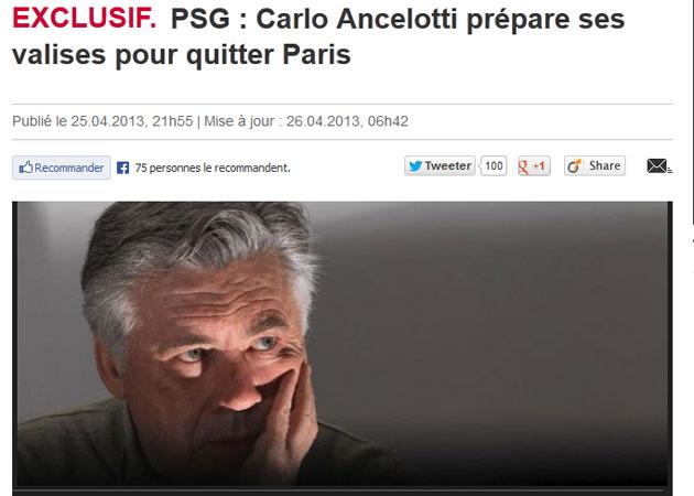 Ancelotti comunica al PSG que se marcha y podr�a estar cerca de un acuerdo con el Real Madrid