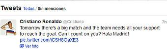 Cristiano pide el apoyo del Bernab�u por Twitter