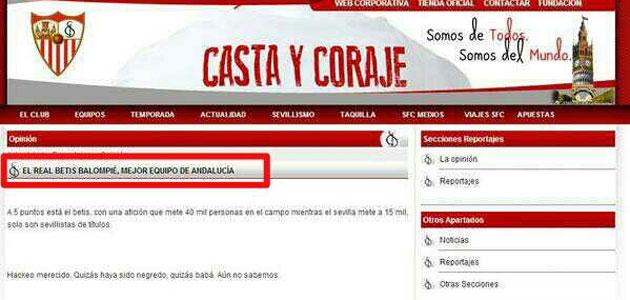 Un 'hacker' piratea la web oficial del Sevilla