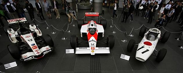 Tres modelos de monoplazas con motor Honda del pasado / Foto: AFP