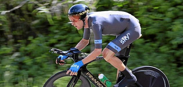 Wiggins, en una contrarreloj del Giro / AFP