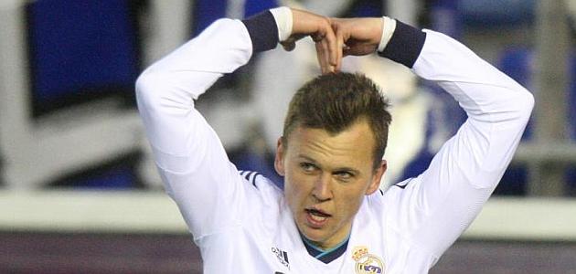 Cheryshev celebra un gol con el Castilla / DAVID (MARCA)