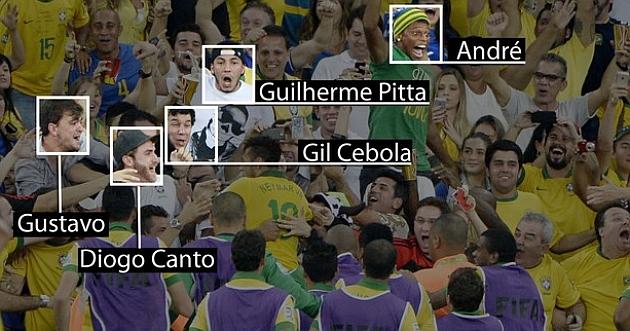 Neymar celebra el gol con sus amigos. / André Durão / Globoesporte.com