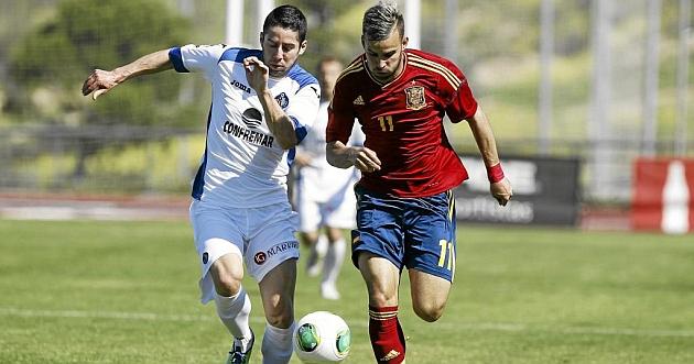 Hugo Fraile, con Jes� en un partio del Getafe contra la selecci�n sub-20 / Pablo Garc�a (Marca)