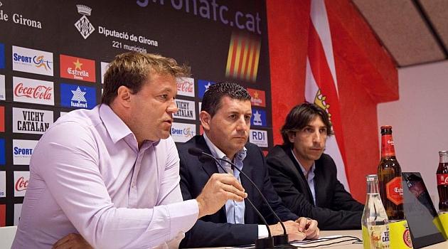 Salamero, en su presentaci�n del 23 de junio como director deportivo en Montilivi / Girona F. C.