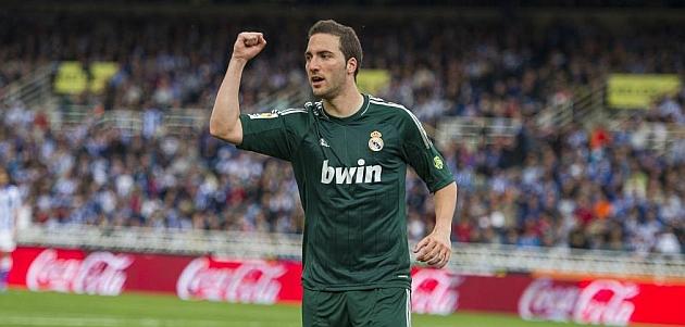 Higuaín celebra un gol con el Real Madrid / JUAN MANUEL SERRANO ARCE (MARCA)