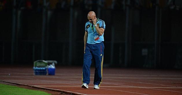 Luis de la Fuente, cariacontecido tras la derrota ante Francia / Sportsfile