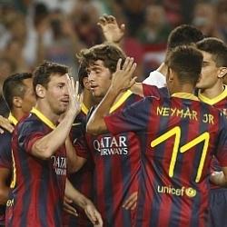 Fuegos artificiales en el Camp Nou