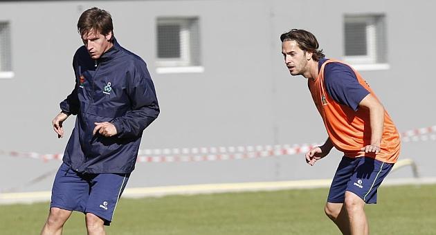 Borja P�rez, a la izquierda, junto a Alex P�rez, en su �poca en el Alcorc�n