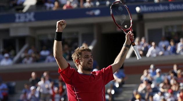 Wawrinka celebra su triunfo ante Murray / REUTERS