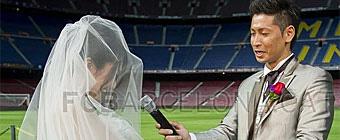 De boda en el Camp Nou dos días antes del Clásico