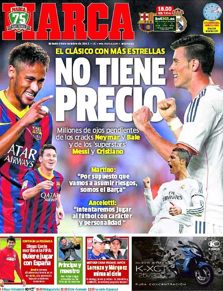 MARCAs El Clasico front page, featuring Neymar and Bale: Priceless