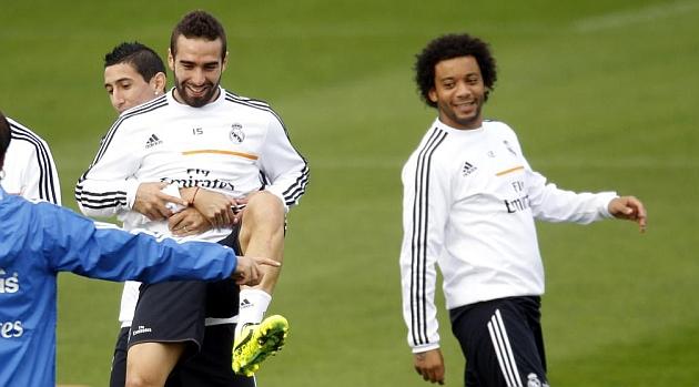 Carvajal y Marcelo, en un entrenamiento del Real Madrid / PABLO GARC�A (MARCA)