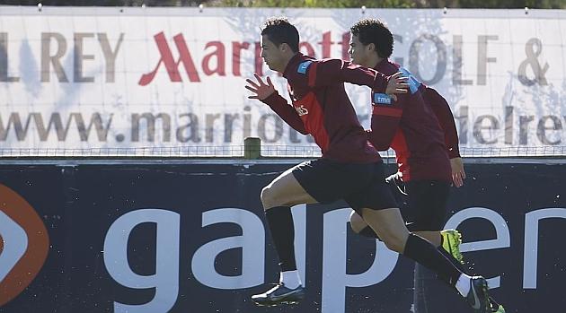Cristiano y Pepe, en un entrenamiento de Portugal / REUTERS