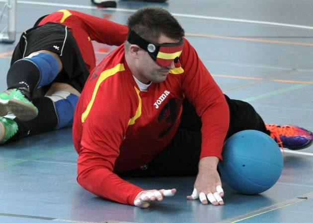 Dani durante un entrenamiento de la selecci�n espa�ola de goalball. FOTO: dxtadaptado