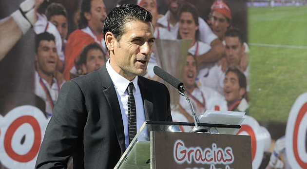 Palop, durante el acto de su despedida del Sevilla. KIKO HURTADO