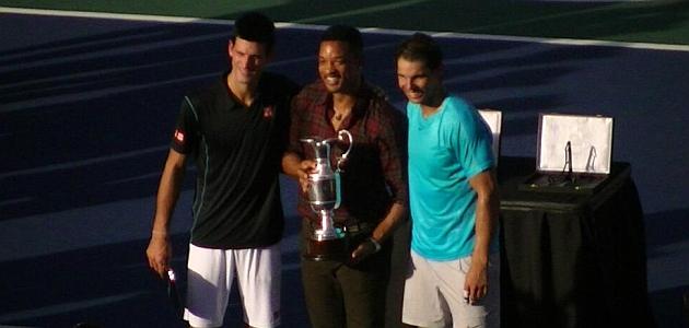 Novak Djokovic y Rafa Nadal posan junto a Will Smith / Foto: Fernando Grisolía (TenisExtra)