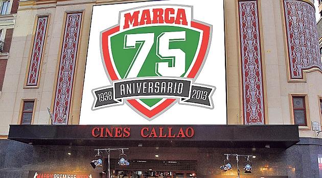 El Cine Callao luce el logotipo del 75 Aniversario de MARCA