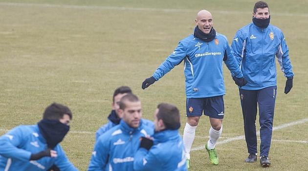Movilla y Abraham, durante el entrenamiento de este jueves / Toni Galán (Marca)