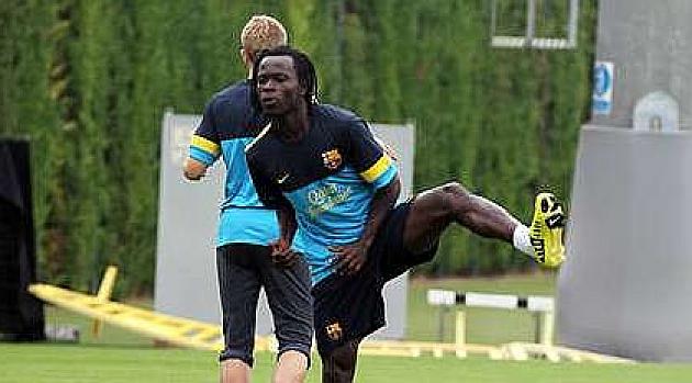 Agostinho Ca, en un entrenamiento con el filial del Barcelona
