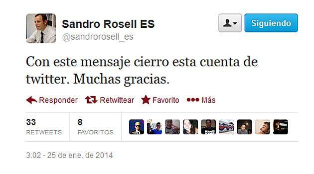 Rosell cierra su cuenta de Twitter