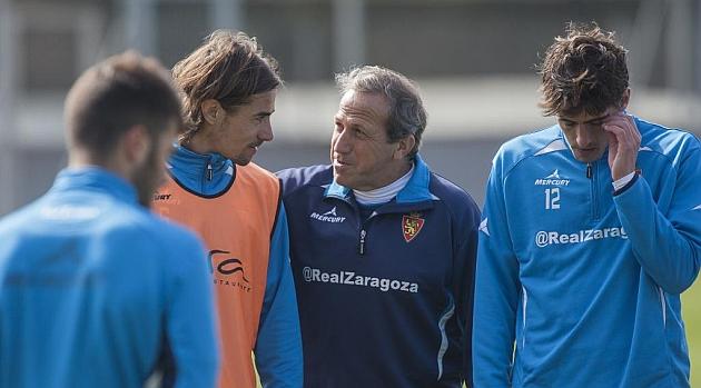 David Cort�s junto a V�ctor Mu�oz durante un entrenamiento / Toni Gal�n (Marca)