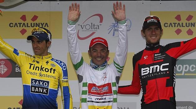 Alberto Contador, 'Purito' Rodríguez y Van Garderen en el podio. FOTO: Rafa Gómez / Ciclismo a fondo