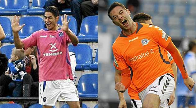 Ayoze P�rez y Borja Viguera no se cansan de celebrar goles con Tenerife y Alav�s