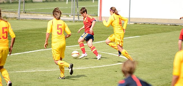 Sonia Bermúdez celebra un gol ante Macedonia / Sefutbol.com