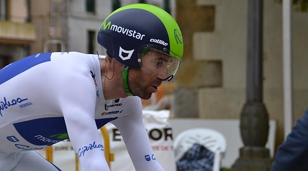 Alejandro Valverde durante la crono. FOTO: Movistar Team