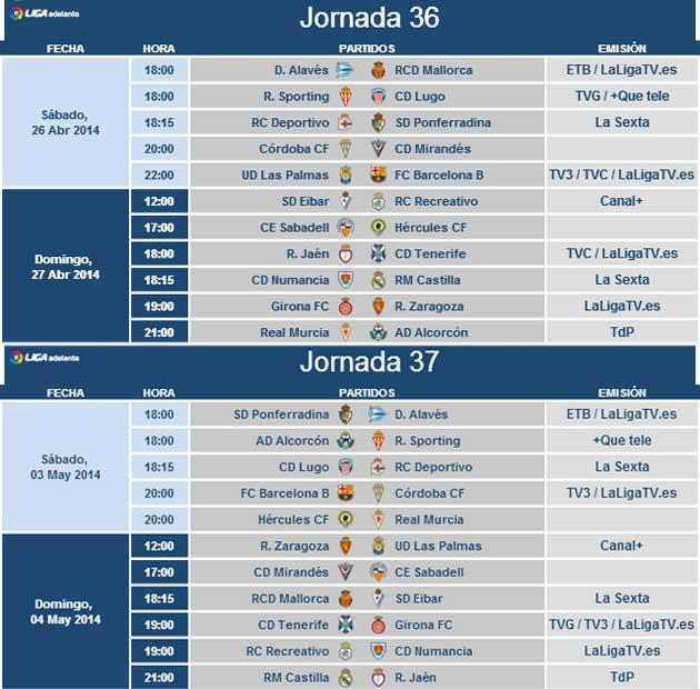 Horarios de las jornadas 36 y 37 de la Liga Adelante