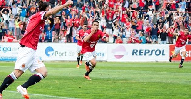 Los jugadores del Nàstic, celebrando el tanto de Piojo. / FOTO: Nàstic de Tarragona