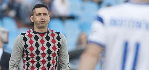 Herrero resopla durante el partido del Jaén en La Romareda / Toni Galán (Marca)