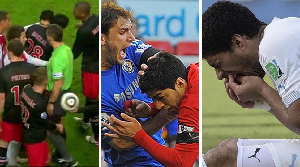 Tercera vez que Luis Suárez muerde a un rival en un terreno de juego