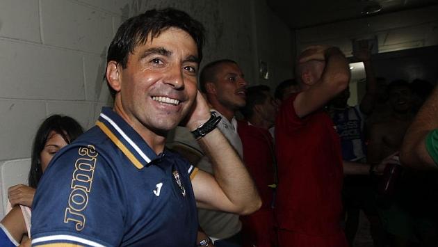 Garitano celebra el ascenso del Leganés. / FRANCESC ADELANTADO (MARCA)