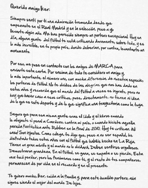 Carta de Chilavert a Iker