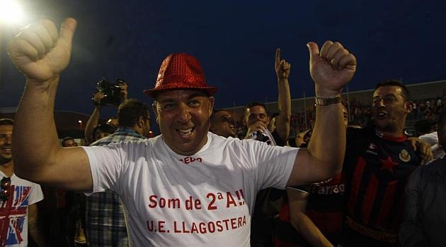 Oriol Alsina, celebrando el ascenso del Llagostera / Franscec Adelantado (Marca)