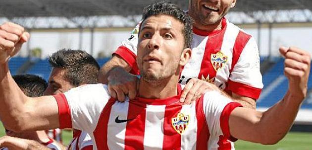 Borja Lázaro, celebra un gol en su etapa con el Almería B./www.deportivoleganés.com