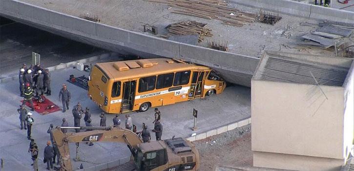 Al menos dos muertos al caer un viaducto en construcción en Belo Horizonte