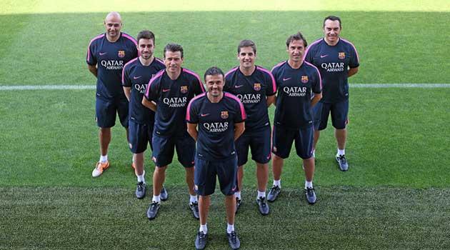 De la Fuente, Pol, Unzué, Luis Enrique, Moreno, Barbarà y Valdés -de izquierda a derecha-. / FOTO: FC Barcelona