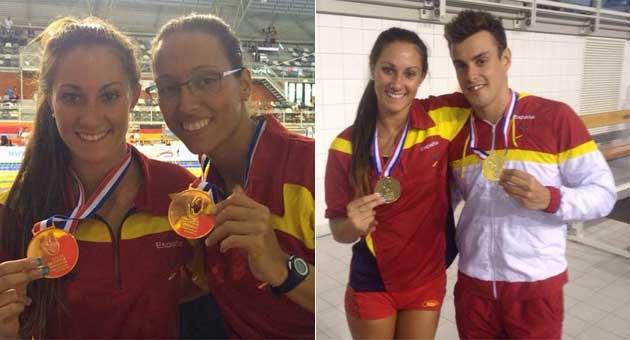 Sarai Gascón posa con Teresa Perales y con José Antonio Marí con sus medallas de oro.