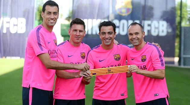 Xavi, Iniesta, Messi y Busquets, los capitanes de este año
