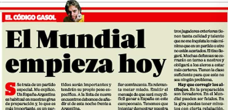 """Pau Gasol en MARCA: """"El Mundial empieza ante Argentina, al menos en mentalidad"""""""