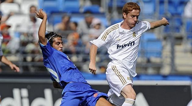 Provencio, con el Getafe B, en un partido ante el Castilla. / DIEGO G. SOUTO