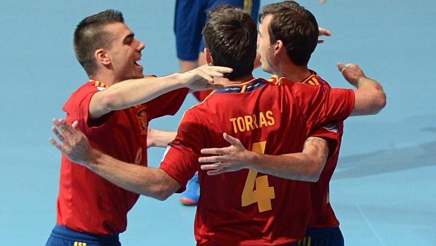 La Seleccón Española de fútbol sala celebra un gol en el pasado Mundial. Foto: AFP