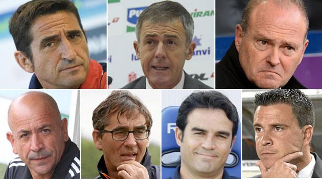 Manolo Jiménez, Lucas Alcaraz, Pepe Mel, Claudio Barragán, Fernando Vázquez, Alberto Toril y Sergio Lobera (de izquierda a derecha y de arriba a abajo)