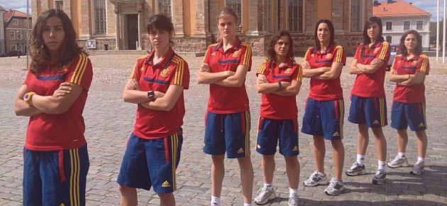 Jugadoras de la selección española posan para MARCA en Kalmar durante la Eurocopa de Suecia en 2013.