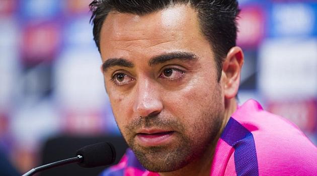 Xavi, en una rueda de prensa / Foto: Álex Caparrós