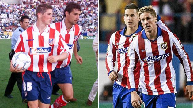 A la izquierda, FernandoTorres salta al terreno de juego junto a Jean Francois Hernández hace 13 años. A la derecha, lo hace con su hijo Lucas el pasado miércoles ante el Real Madrid